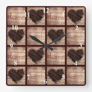 Folk Art Home Sweet Home Collage Hearts Square Wall Clock