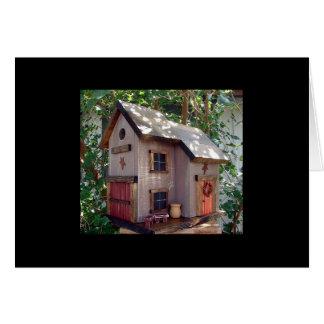 "Folk Art House and Barn Birdhouse ""tweet tweet"" Card"