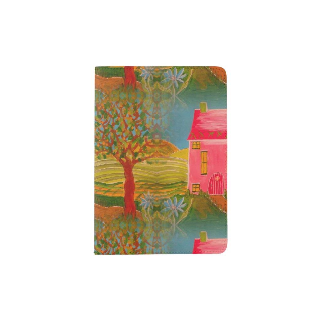 Folk Art House and Landscape Passport Holder