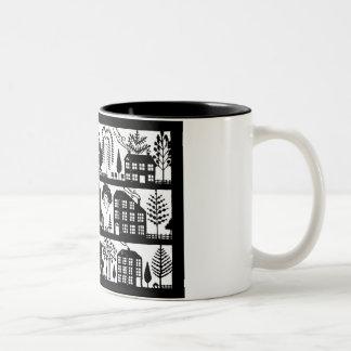 Folk Art Houses Papercut Mug