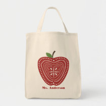 Folk Art Inspired Apple Bag For Teachers