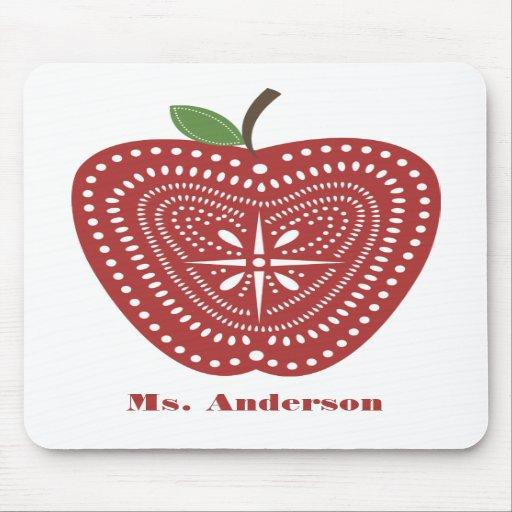Folk Art Inspired Apple Mousepad For Teachers