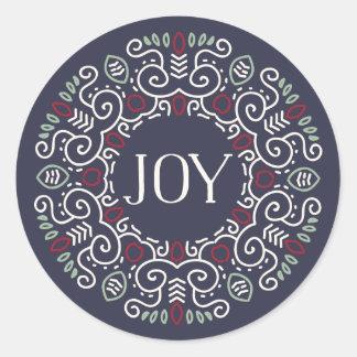 Folk Art Joy Holiday Classic Round Sticker