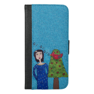 Folk Art Lady Apple Tree Red Bird Musical Notes iPhone 6/6s Plus Wallet Case