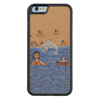 Folk Art Lady Cat Beach Ocean Dolphin Swimming Carved® Maple iPhone 6 Bumper Case