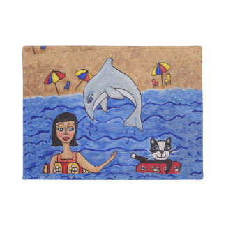Folk Art Lady Cat Beach Ocean Dolphin Swimming Doormat