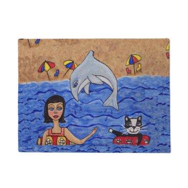 Beach Themed Folk Art Lady Cat Beach Ocean Dolphin Swimming Doormat