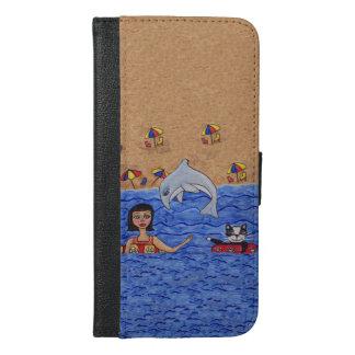 Folk Art Lady Cat Beach Ocean Dolphin Swimming iPhone 6/6s Plus Wallet Case