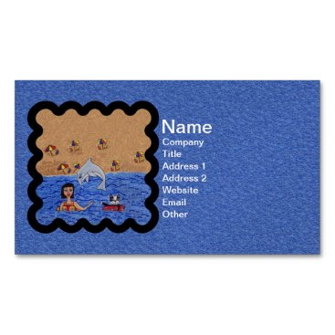 Beach Themed Folk Art Lady Cat Beach Ocean Dolphin Swimming Magnetic Business Card