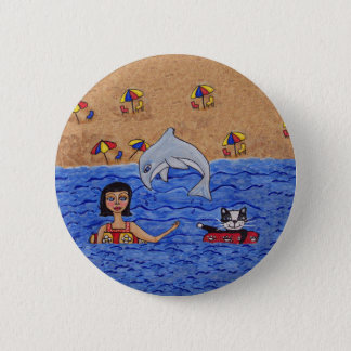 Folk Art Lady Cat Beach Ocean Dolphin Swimming Pinback Button