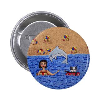 Folk Art Lady Cat Beach Ocean Dolphin Swimming Pinback Button