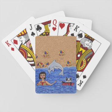 Beach Themed Folk Art Lady Cat Beach Ocean Dolphin Swimming Playing Cards