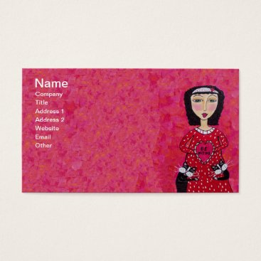 Professional Business Folk Art Lady two Loving Black Cats Red Heart Business Card