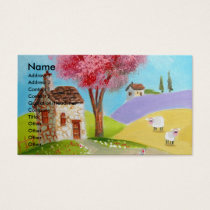 Folk art landscape mouse sheep old cottage business card