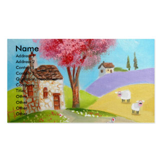 Folk art landscape mouse sheep old cottage business cards