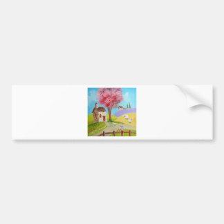 Folk art landscape mouse sheep old cottage car bumper sticker
