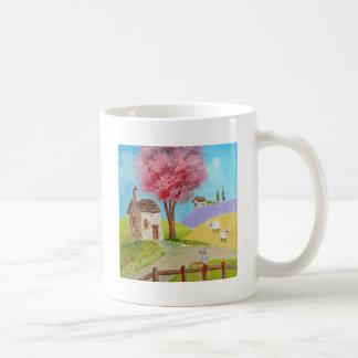 Folk art landscape mouse sheep old cottage mug