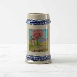 Folk art landscape mouse sheep old cottage coffee mug