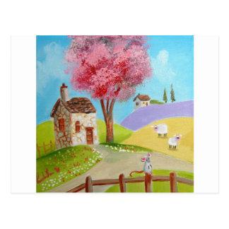 Folk art landscape mouse sheep old cottage post cards