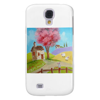 Folk art landscape mouse sheep old cottage samsung s4 case