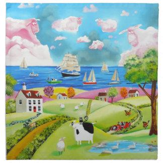 Folk art landscape painting by Gordon Bruce Napkin