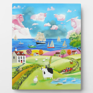 Folk art landscape painting by Gordon Bruce Plaque
