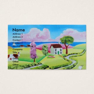 Folk art landscape painting Gordon Bruce Business Card