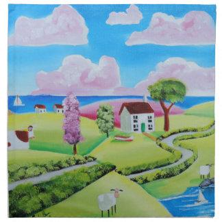 Folk art landscape painting Gordon Bruce Cloth Napkin