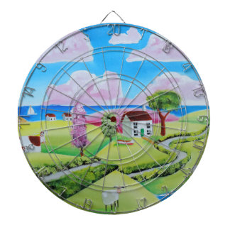 Folk art landscape painting Gordon Bruce Dartboards