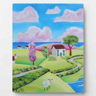 Folk art landscape painting Gordon Bruce Plaque