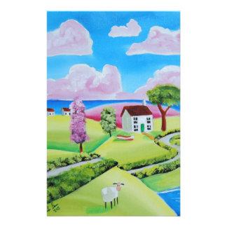 Folk art landscape painting Gordon Bruce Stationery