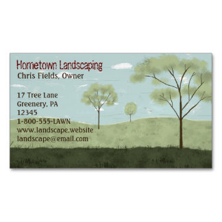 Folk Art Landscape | Trees and Fields Business Card Magnet