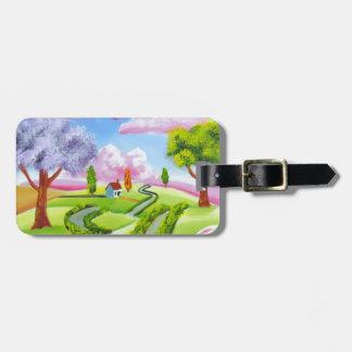 Folk art landscape with a cow bag tag