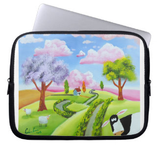 Folk art landscape with a cow computer sleeve