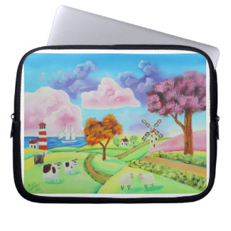 Folk art landscape with a windmill painting laptop sleeve