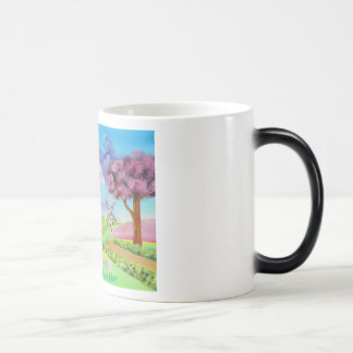 Folk art landscape with a windmill painting magic mug