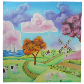 Folk art landscape with a windmill painting napkin