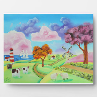 Folk art landscape with a windmill painting plaque