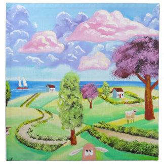 folk art landscape with sheep Gordon Bruce art Cloth Napkin