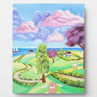 folk art landscape with sheep Gordon Bruce art Plaque