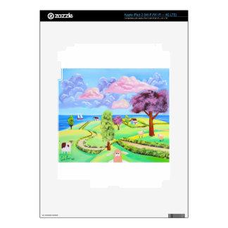 folk art landscape with sheep Gordon Bruce art Skins For iPad 3