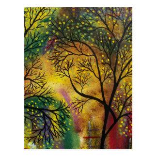 FOLK ART Light Behind The Trees BY LORI postcard