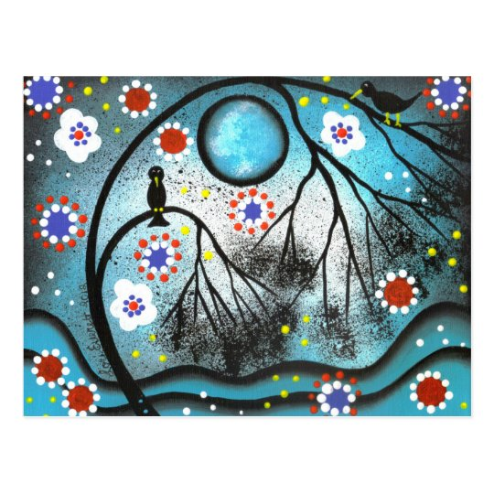 FOLK ART Lovers Tree BY LORI EVERETT postcard