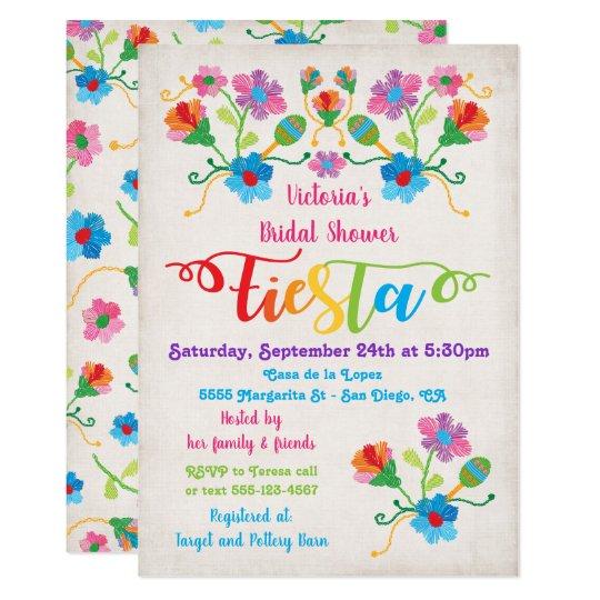 Folk Art Mexican Fiesta Bridal Shower Invitation Zazzlecom