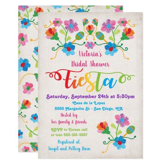 folk art mexican fiesta bridal shower invitation