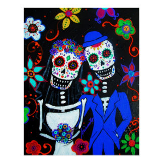 FOLK ART MEXICAN HAPPY COUPLE WEDDING PAINTING POSTER