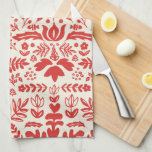 "Folk Art Monogram Holiday Kitchen Towel<br><div class=""desc"">Hand drawn custom red and ivory holiday design by Shelby Allison.</div>"