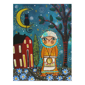 FOLK ART Moon Over The Star's BY LORI postcard
