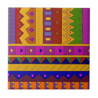 Folk Art Multi-colored geometric shapes Tile