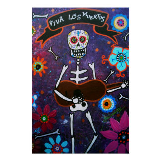 FOLK ART MUSICIAN DAY OF THE DEAD PAINTING PRINT